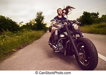 bello, immagine, coppia romantica, giovane, motociclisti