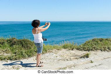 bello, immagine, donna, volerci, oceano
