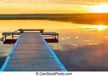 bello, immagine, pittoresco, legno, sole, sopra, -, lago, lungo, regolazione, orizzontale, banchina, paesaggio
