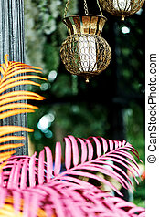 bello, indonesiano, candles., aria, riscaldare, intagliato, appendere, supporti candela, bello