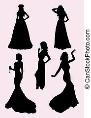 bello, indossare, donna, vestire, silhouette