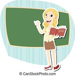 bello, insegnante, femmina
