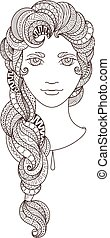 bello, intricately, luminoso, vettore, portrait., zentangle, eyes., ragazza, treccia, modellato