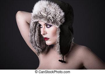 bello, inverno, donna