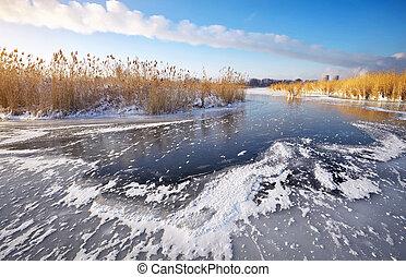 bello, inverno, potere, congelato, lago,  PLA, Pettini, paesaggio