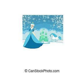 bello, inverno, principessa