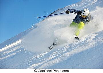 bello, inverno, stagione, soleggiato, neve, sciare, fresco,...