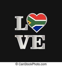 bello, iscrizione, amore, africa, tipografia, bandiera, vettore, disegno, sud