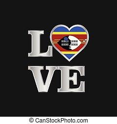 bello, iscrizione, amore, tipografia, bandiera, vettore, disegno, swaziland