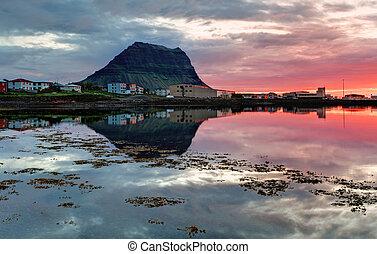 bello, islanda, paesaggio, montagna
