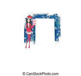 bello, ispirare, pin-up, costume, ragazza, natale