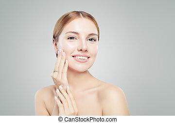 bello, jewelry., diamante, ragazza, elegante, orecchini, anello, modello