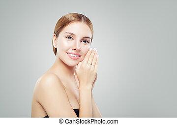 bello, jewelry., donna, bellezza, giovane, accessori, ring., orecchini, ragazza