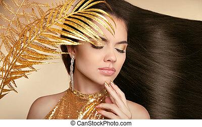 bello, jewelry., donna, brunetta, arte, hairstyle., bellezza, girl., sano, foto, manicured, nail., isolato, lungo, giovane, fondo., moda, beige, make-up., hair., lucido