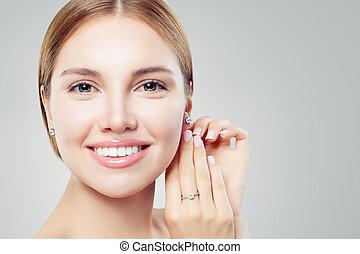 bello, jewelry., set, gioielleria, bellezza, accessori, ring., diamante, donna, orecchini, ragazza