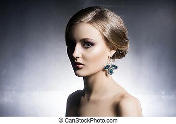 bello, jewels., ragazza, baluginante, ritratto