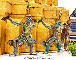 bello, kaew, gigante, phra, pagoda, statua, tailandia, wat