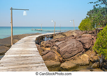bello, koh, banchina, legno, isola, kood, tropicale, tailandia, spiaggia