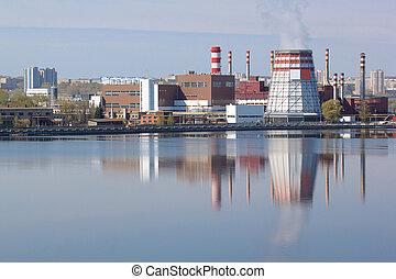 bello, lago, industriale, paesaggio, contro