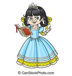 bello, leggere, isolato, libro, fondo, bianco, principessa