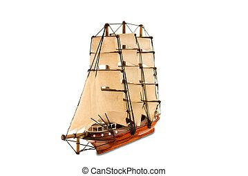 bello, legno, nave, figurina