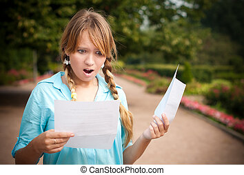 bello, lettera, ragazza, giovane, studente