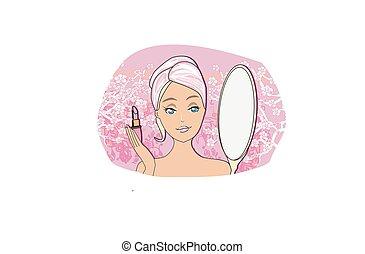 bello, lipstick., biondo, applicare, ragazza