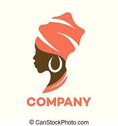 bello, logotipo, donna, africano