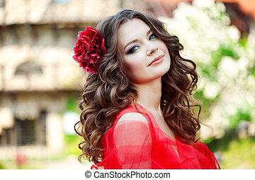 bello, luminoso, donna, vestire, rosso