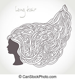 bello, lungo, silhouette., capelli, curls., biondo, intricato, ragazza, faccia