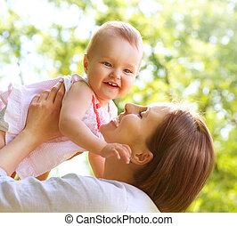 bello, madre bambino, outdoors., natura