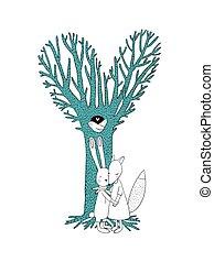 bello, magia, fox., lepre, due, cavo, albero, uccelli