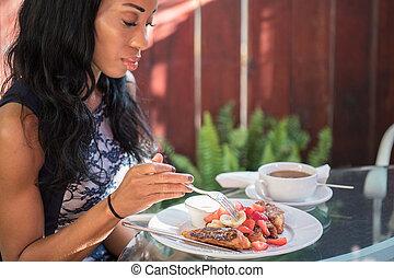 bello, malinconico, colazione, esterno, terrazzo, ragazza, detenere