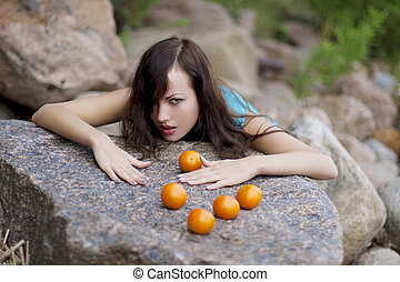 bello, mandarini, giovane ragazza, natura