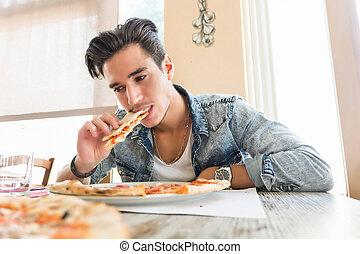bello, mangiare, giovane, casa, uomo, pizza