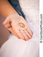 bello, mano, sposa, presa a terra, fede