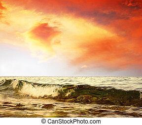 bello, mare, paesaggio natura, su, il, alba, cielo