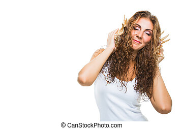 bello, mare, riccio, ascolto, giovane, lungo, isolato, capelli, musica, fondo, ragazza, bianco, cockleshell