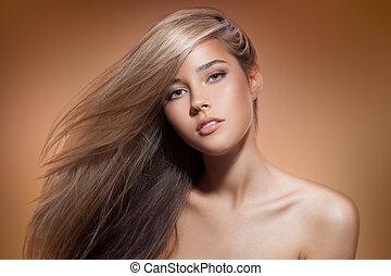 bello, marrone, biondo, sano, lungo, girl., fondo, hair.
