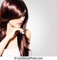 bello, marrone, brunetta, sano, capelli lunghi, hair., ragazza