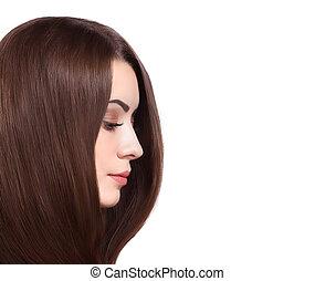 bello, marrone, donna, diritto, lungo, hair.