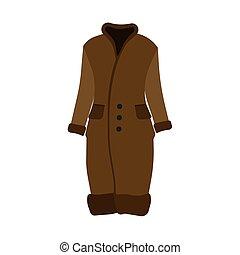 bello, marrone, donna, pelliccia, cappotto inverno, moderno...