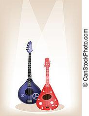 bello, marrone, ukulele, due, chitarra, fondo, palcoscenico