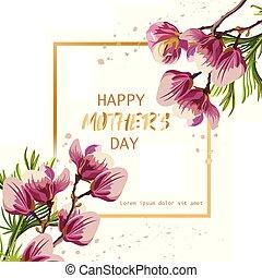 bello, mascherine, magnolia, vector., madre, fiori, giorno, scheda, felice