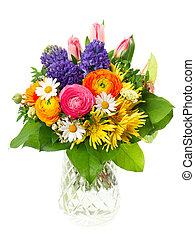 bello, mazzolino, di, colorito, fiori primaverili