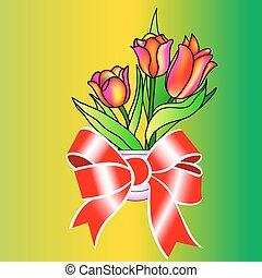 bello, mazzolino, fiori, tulips