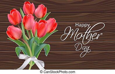 bello, mazzolino, realistic., madre, sfondi, tulipano, holiday., vettore, primavera, legno, fiori, giorno, scheda