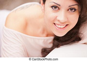 bello, meraviglioso, occhi, brunetta, ritratto