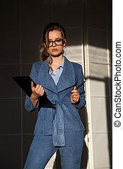 bello, moda, donna, lavoro ufficio, affari
