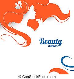 bello, moda, donna, silhouette., carta, disegno